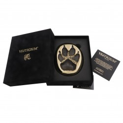 Bronze wolf paw size 1:1, luxury velvet box, and authenticity certificate